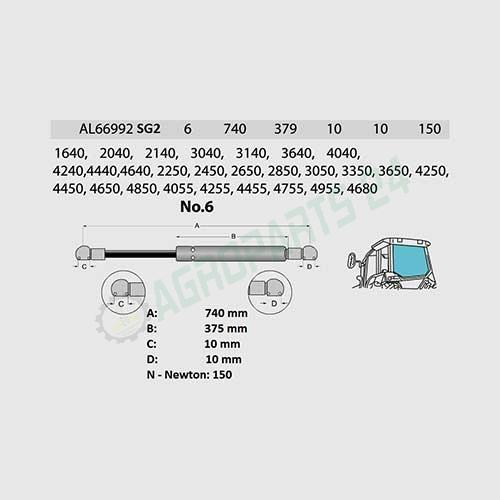 Gasdruckfeder Heckscheibe John Deere AL66992